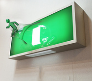 「This is EXIT」 660 green2012, H26xB66xT35cmAcryl, Holz, LED, PET / 20 EditionenBestellbar / Orderable